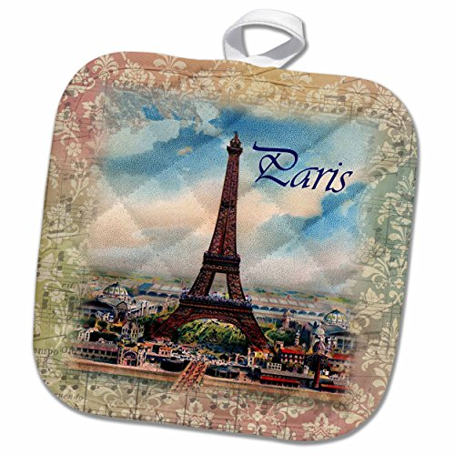 3D Rose Image of Eiffel Tower On Old Music Sheet with Word Paris Pot Holder, 8 x 8