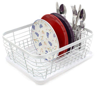 ESYLIFE Kitchen Dish Drainer Drying Rack with Drip Tray and Full-Mesh Silverware Storage Basket, White
