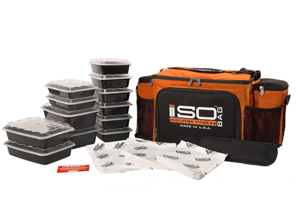 Isolator Fitness 6 Meal ISOBAG Meal Prep Management Insulated Lunch Bag Cooler with 12 Stackable Meal Prep Containers, 3 ISOBRICKS, and Shoulder Strap - MADE IN USA (Tangerine/Black)