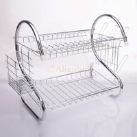 Kitchen Dish Cup Drying Rack Holder Sink Drainer 2 Tier Dryer Stainless Steel