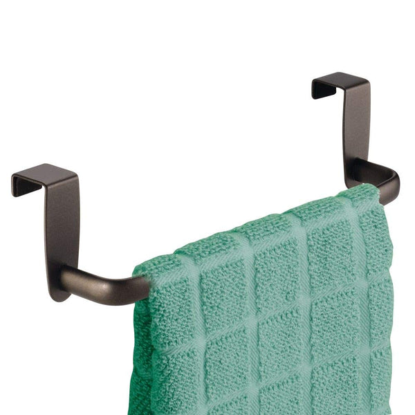 "mDesign Over-the-Cabinet Kitchen Dish Towel Bar Holder - 9"", Bronze"