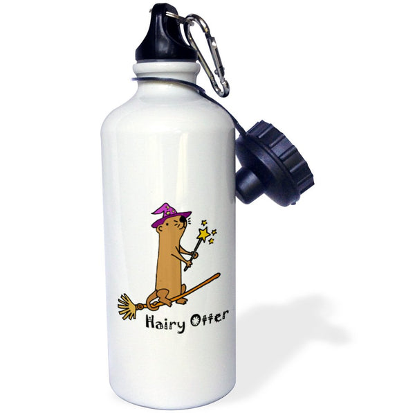 3dRose wb_245393_1 Funny Sea Wizard Hat Riding Flying Broom Hairy Otter Water Bottle