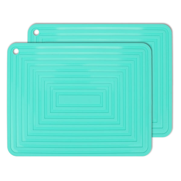 "2 Pack Silicone Trivet Mats/Hot Pads,Pot Holder,9""x12"" Non Slip Flexible Durable Heat Resistant Pot Coaster Kitchen Table Mats (Teal)"