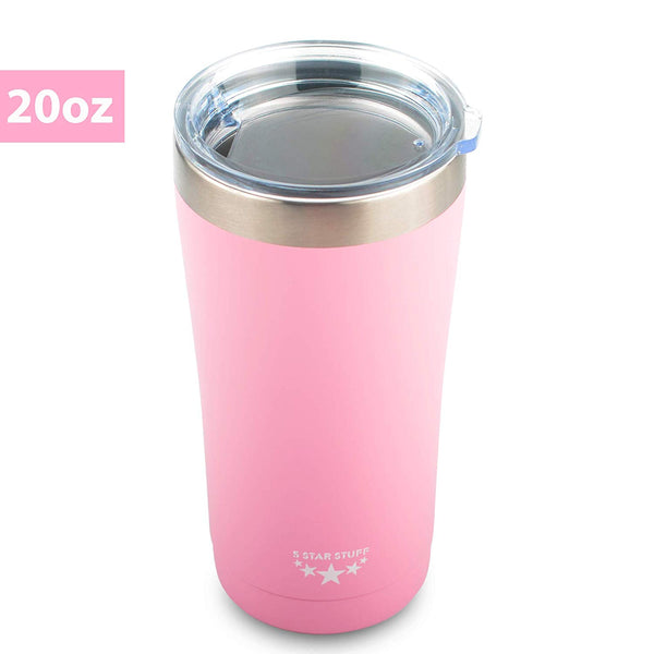 5 Star Stuff Stainless Steel Tumbler with Lid, 20oz Tumbler 100% Double Wall Stainless Steel Vacuum Insulated Tumbler with Lid- 20oz Pink
