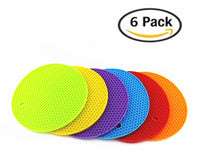 6 Pcs Silicone Heat Resistant Pot Holder Trivets for Hot Dishes Cups Pans for Your Kitchen Table Countertop (6)