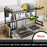 Exclusive dish drainer rack holder black stainless steel kitchen rack sink sink dish rack drain bowl rack dish rack kitchen supplies storage rack 95cm