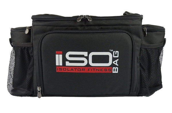 Isolator Fitness 6 Meal ISOBAG Meal Prep Management Insulated Lunch Bag Cooler with 12 Stackable Meal Prep Containers, 3 ISOBRICKS, and Shoulder Strap - MADE IN USA (Black)