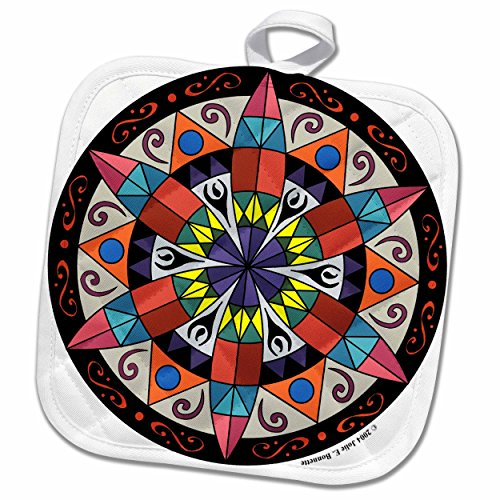 "3D Rose Hex Sign 1 Pennsylvania Dutch Luck Protection Symbol Pot Holder, 8"" x 8"""