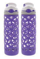 Contigo AUTOSPOUT Ashland Glass Water Bottle w/ Silicone Sleeve - Spout Shield Protects from Germs - BPA Free- Top Rack Dishwasher Safe -Great for Home and Travel - 20 Ounces, Grapevine (2 Pack)