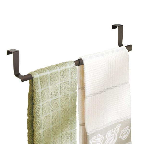 mDesign Over-the-Cabinet Expandable Kitchen Dish Towel Bar Rack - Bronze