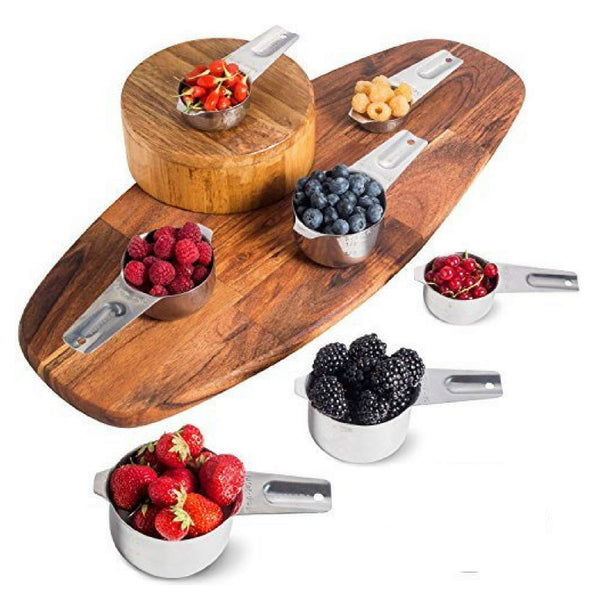 Palada Stainless Steel Metal Measuring Cups Set Small Tablespoon to 1/8 Teaspoon 7 Mini Measurement Cups Bonus 10K Recipe E-book