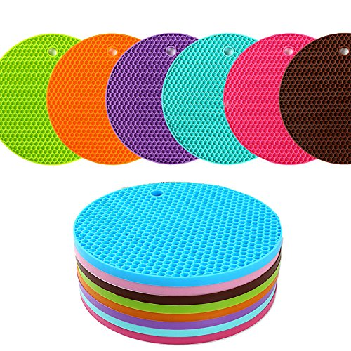 KISENG Silicone Pot Holder, Placemat(Set of 6), Non-Slip, Flexible, Durable, Dishwasher Safe, Heat Resistant Hot Pads(Pattern B)