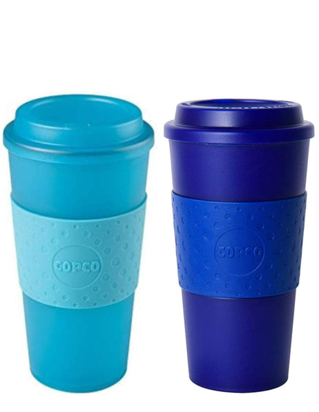 Copco Acadia Double Wall Insulated 16 oz Travel To Go Mug with Non-Slip Sleeve, Set of 2, Commuter Friendly, Drink On the Go (Translucent Teal/Translucent Navy)