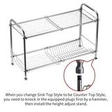 Delite Home 2-Tier Stainless Steel Over Sink Dish Drying Rack Counter-top Dish Rack Dish Shelf Dish Collector Silver Single Groove