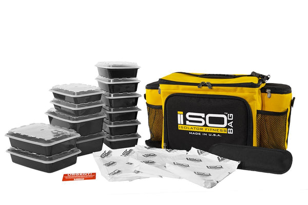 Isolator Fitness 6 Meal ISOBAG Meal Prep Management Insulated Lunch Bag Cooler with 12 Stackable Meal Prep Containers, 3 ISOBRICKS, and Shoulder Strap - MADE IN USA (Gold/Black)