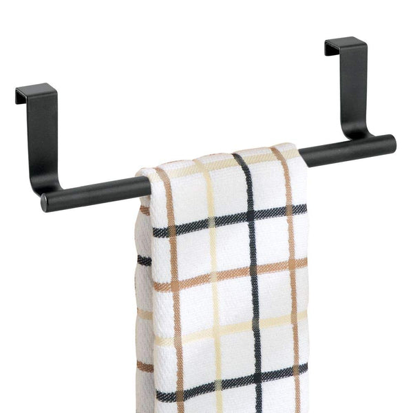 "mDesign Over-the-Cabinet Towel Bar Holder for Bathroom or Kitchen - 9"", Matte Black"