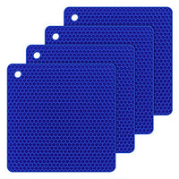 Bligli Silicone Dish Drying Mats Trivet, Durable Multipurpose Pot Holders, Jar Opener, Spoon Rests- Dishwasher Safe –FDA Approved-Food Grade- Set of 4(Blue)