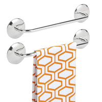 mDesign Kitchen Self-Adhesive Towel Bar Holder for Hand Towels, Dish Towels - Pack of 2, Polished Stainless Steel