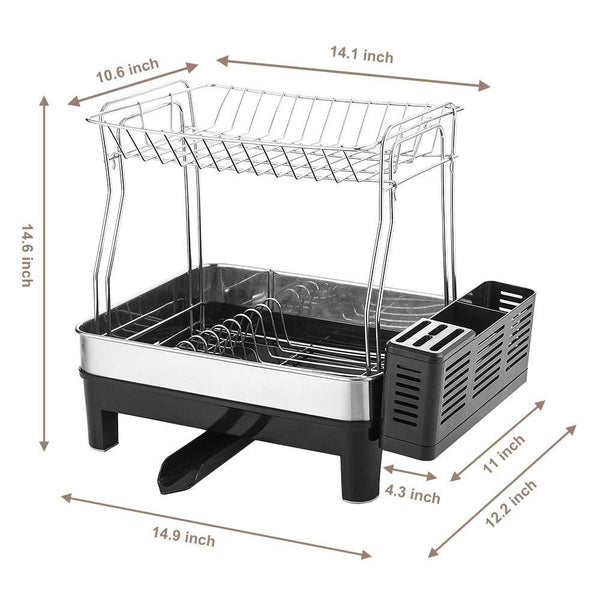 KEDSUM Rust-Proof Stainless Dish Rack, 2-Tier Detachable Dish Drying Rack with Removable Utensil Holder, Dish Drainer with 360 Degrees Adjustable Swivel Spout for Kitchen Counter