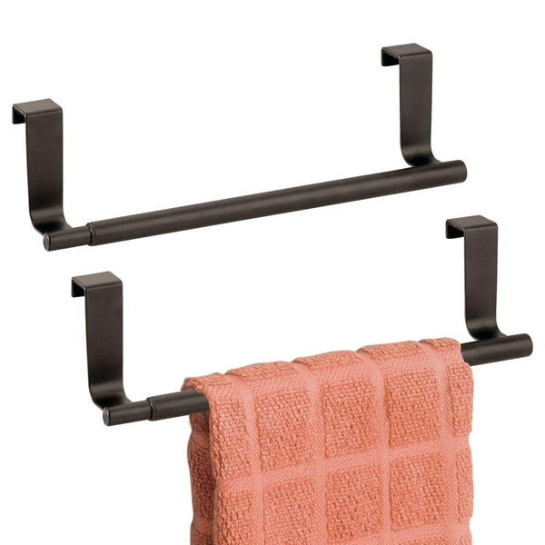"mDesign Adjustable, Expandable Kitchen Over Cabinet Towel Bar Rack - Hang on Inside or Outside of Doors, Storage for Hand, Dish, Tea Towels - 9.25"" to 17"" Wide, 2 Pack - Bronze"
