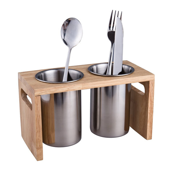 Flatware Organizer Caddy with Wood Base SUS304 Stainless Steel Cutlery Utensil Holder for Kitchen Countertop