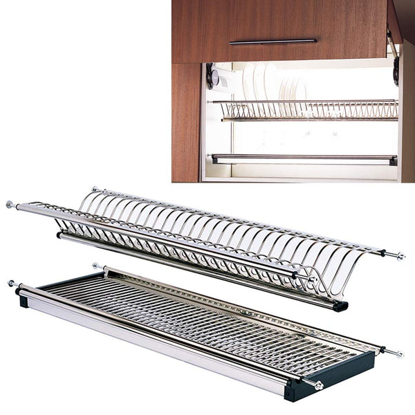 "Modern 2-Tier Stainless Steel Folding Dish Drying Dryer Rack 900mm(36"") Drainer Plate Bowl Storage Organizer Holder for Cabinet Width 860mm(34"")-875mm(34.5"")"