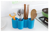 Kitchen Utensil Holder by Latom, Cooking Utensil Caddy, Silverware Spatula Cookware and Chopsticks Drying Cutlery Holder Storage Organizer(Blue)