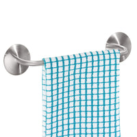 mDesign Decorative Metal Small Towel Bar - Strong Self Adhesive - Storage and Display Rack for Hand, Dish, and Tea Towels - Stick to Wall, Cabinet, Door, Mirror in Kitchen, Bathroom - Brushed