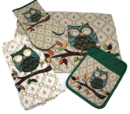 Fall Autumn Owl Kitchen Towel Set - Includes Pot Holder, Towel, Oven Mitt and Placemat
