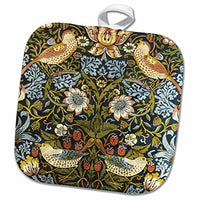 3D Rose William Morris Strawberry Thief Pattern Pot Holder, 8 x 8