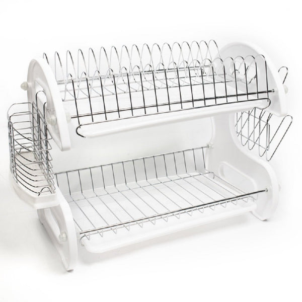 2 Tier Dishes Drainer White Kitchen Sink Drying Rack Sleek Contemporary Design