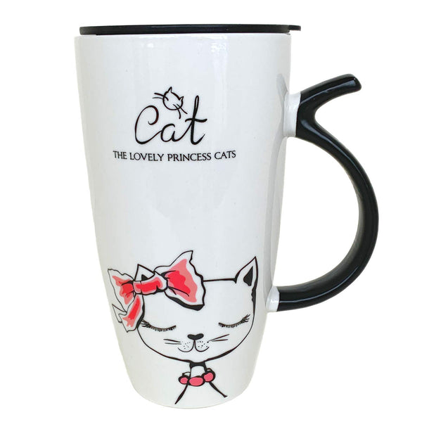 Little-Sweet Huge Travel Mug Cat Large Coffee Mug Cute Ceramic Mug Novelty Morning Mug Tea Cup Gifts for Cat Lovers (Pink tie)