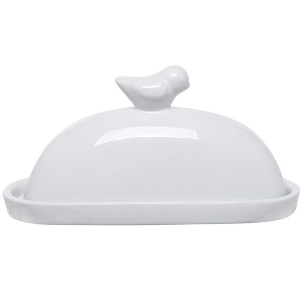MyGift White Bird Design Decorative Ceramic Butter Dish and Lid Cover