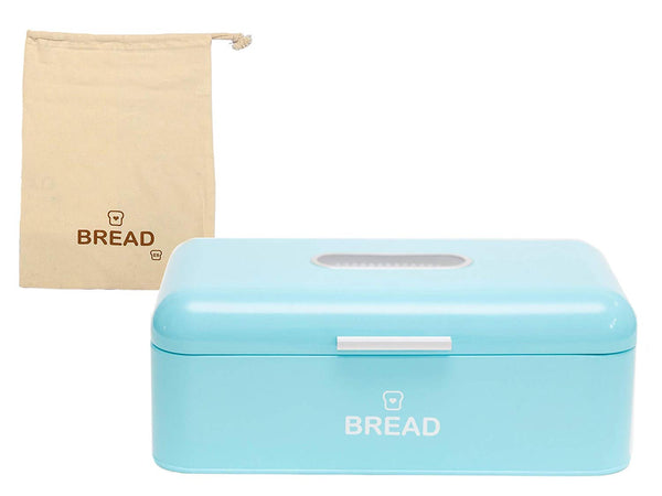 "Vintage Bread Box For Kitchen Stainless Steel Metal 16.5"" x 9"" x 6.5"" with viewing window + FREE Bread Bag; Large Bread, Loaves, Pasgtires Bin storage (Red)"