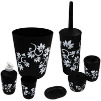 Blue Donuts Bathroom Accessories Set Complete, Toilet Brush and Holder, Trash Can, Toothbrush Holder, Black, 7 Pieces