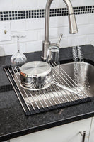 BUNDLE Easy to Store Over the Sink Stainless Steel Roll Up Drying Rack and Produce Cleaning Glove