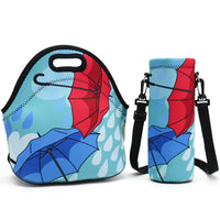 Neoprene Lunch Bag, Thick insulated Lunch Box Bag For Women,Men & Kids+Water Bottle Carrier Adjustable Shoulder Strap For Snacks & Lunch- Suitable For Travel,Picnic,School,Office (Nice Umbrella)