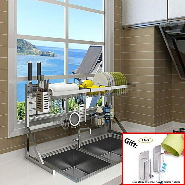Order now xue shelf dish drainer rack holder black stainless steel kitchen rack sink sink dish rack drain bowl rack dish rack kitchen supplies storage rack silver