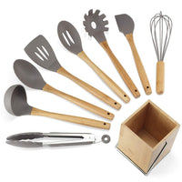 Kitchen Utensil Set,9 Pieces Cooking Utensils sets with Holder, Natural Bamboo Handle Silicone Cooking Utensils Slotted Spatula Turner Whisk Spoon Tongs Ladle for Non-stick Cookware