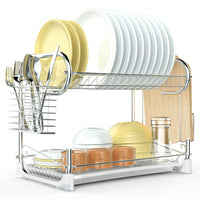 Dish Drying Rack, F-color Upgraded 2 Tier Dish Drainer Easy Install Kitchen Countertop Dish Holder with Removable Drain Board, Cutlery Drying Basket, Cutting Board Holder, Silver
