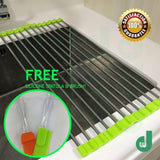 DW Roll-up Drying Rack Stainless Steel Foldable Over Sink Rack Green Silver Kitchen Safe Neat Clean Flexible Space Saving FREE Silicone Spatula And Brush Set