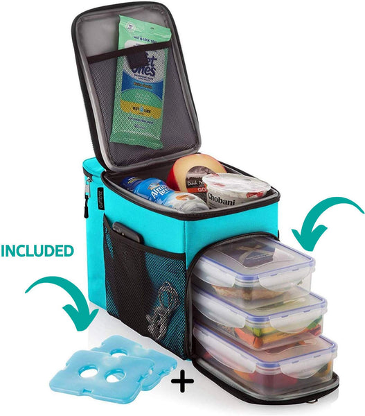 ZUZURO Lunch Bag Insulated Cooler Lunch Box w/ 3 Compartment - Heavy-Duty Fabric, Strong SBS Zippers - Includes 3 Meal Prep Lunch box Containers + 2 Ice Packs. For Men Women Adults (Turquoise)