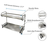 "2-Tier Kitchen Cabinet Dish Rack 19.3"" Wall Mounted Stainless Steel Dish Rack Steel Dishes Drying Rack Plates Organizer Rubber Leg Protector With Drain Board"