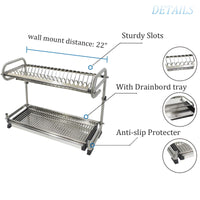 "23.2"" Kitchen Dish Rack 2 Tier Stainless Steel Cabinet Rack Wall Mounted with Drainboard Set Dish Bowl Cup Holder (23.2 inch)"