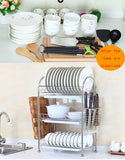 3-Tier Dish Drying Rack Dish Drainer Kitchen Storage Organization Shlef, Stainless Steel, GEYUEYA Home