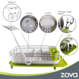 MR.SIGA zova Premium Stainless Steel Multi-Functional Dish Drying Rack with Cutlery Holder and Wine Glass Rack, Dish Drainer Utensil Organizer for Kitchen– Large, White &Green