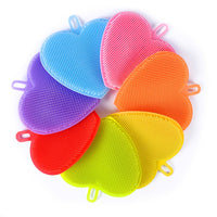 7-pack Antibacterial Silicone Sponge Set By Prokitchen, Heart Shape Kitchen Dish Scrubber Multipurpose for Washing Pots and Pans (Blue, Pink, Orange, Yellow, Green, Red and Purple)