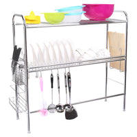 Corodo Stainless Steel Dish Rack, 2-Tier Large Dish Drying Rack with Cutting Board Holder and Knives Forks Chopsticks Holder, Non Slip Sink Dish Rack