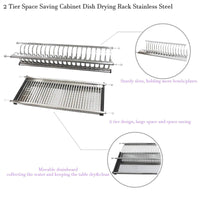 "Modern 2 Tier Kitchen Folding Dish Drying Dryer Rack 35.4"" For Cabinet Stainless Steel Drainer Plate Bowl Storage Organizer Holder"