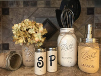 Ball Mason Jar KITCHEN PICK YOUR OWN PACK SET ~Pint Vase, Salt & Pepper Shakers, Utensil Holder, Stainless Steel Soap Dispenser ~Canning JARS Hand PAINTED Distressed ~Yellow Brown Cream Tan